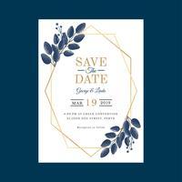 Geometric Watercolor Wedding Invitation Template Vector
