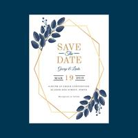 Geometric Watercolor Wedding Invitation Template Vector