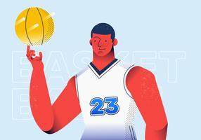 Jogador de basquete profissional em ilustração vetorial de ação