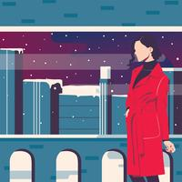 Woman Portrait in winter Vector Design