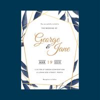 Geometric Frame Watercolor Floral Wedding Invitations Template