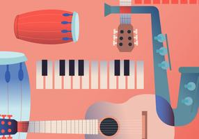 Vintage Music Instrument Poster vector Illustration