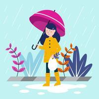 Young Girl Holding Umbrella Vector