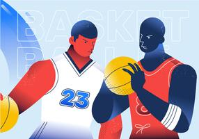 Basketbalspeler tegenover Vectorkarakterillustratie