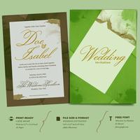 Invitación de boda doble cara plantilla con marco geométrico simple acuarela
