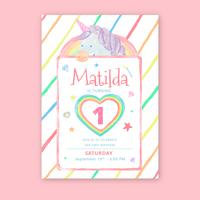 Gullig Unicorn Brithday Card