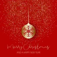 Boule de Noël sur fond de paillettes