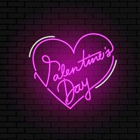 Valentine Day Neon Sign Vector