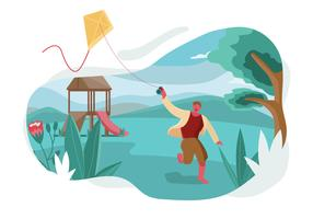 Boy Flying A Kite At Park vector Illustration