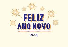 Feliz Ano Novo Handbeschriftungsvektor