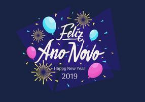 Feliz Ano Novo letras a mano Vector