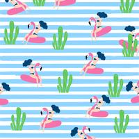 Summer seamless pattern design with woman on floating flamingo rubber ring