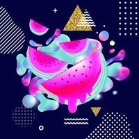 Vätska mångfärgad bakgrund med vattenmelon vektor illustration