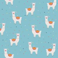 Llama or alpaca with dots seamless pattern background vector illustration