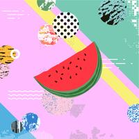Trendy colorful background with watermelon