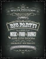 Convite de festa retrô no quadro-negro