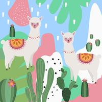 Llama or alpaca with cactus colorful background vector illustration