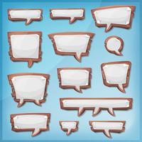 Dibujos animados de madera burbujas de discurso para juego de interfaz de usuario