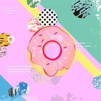 Trendy colorful background with donut