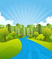Ciudad verde en el horario de verano