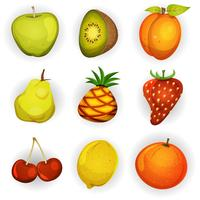 Cartoon fruit pictogrammen instellen
