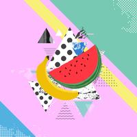 Trendy colorful background with watermelon and banana