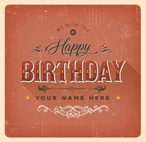 Vintage Red Happy Birthday Card