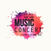 Music concert poster, paint splatter party flyer template vector illustration