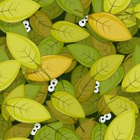 Animal Eyes Inside Green Leaves Seamless Background