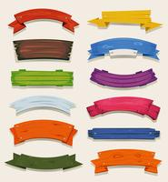 Cartoon Colored Wood Banners And Ribbons