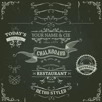 Hand Drawn Banners And Ribbons On Chalkboard vector