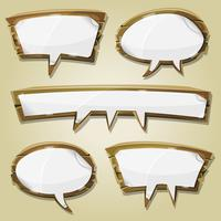 Paper Signs On Wood Speech Bubbles Set vector