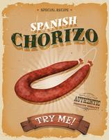 Grunge And Vintage Spanish Chorizo Poster vector