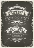 Poster de convite vintage na lousa