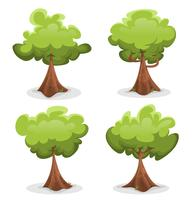Conjunto de árvores verdes engraçadas