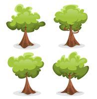 Set di alberi verdi divertenti