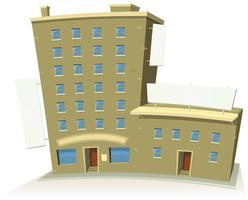 Edificio de la tienda de dibujos animados con apartamentos y pancartas