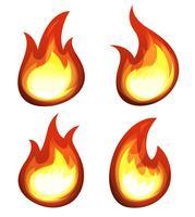 Dibujos animados de fuego y llamas conjunto