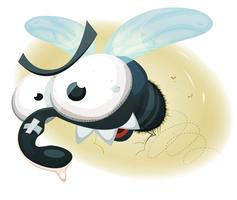 Comic Funny Housefly vector