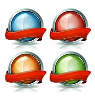 Buttons And Badges With Ribbons vector
