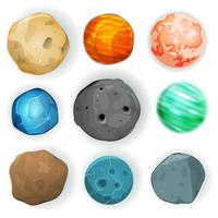 Comic Planets Set vector