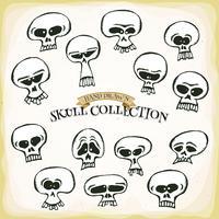 Comic Hand Drawn Skull Head Set