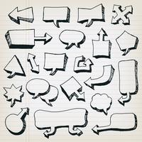 Doodle Cartoon Speech Bubbles Set