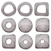 Anillos de piedra, círculos y formas para juego de interfaz de usuario