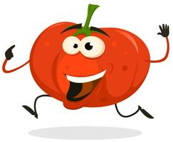 Cartoon heureux personnage de tomate en cours d'exécution