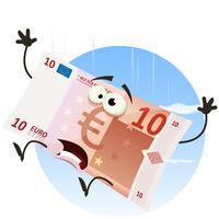 Carácter Euro Bill cayendo