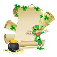 Leprechaun zittend op scroll papier met Gold Coin Pot