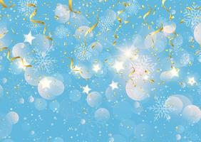 Christmas background with gold streamers confetti and snowflakes