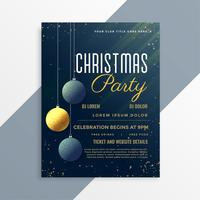 christmas party flyer invitation template with hanging balls