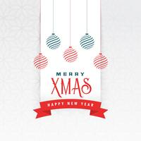 christmas greeting with hanging balls decoration